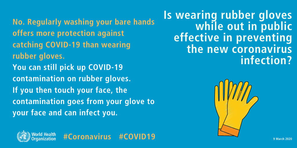 WHO COVID-19 information on wearing gloves