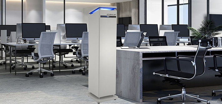 VIRUSKILLER Air Purifier in large office, maintaining air quality control
